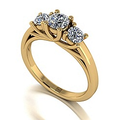 Moissanite - 9ct yellow gold 1ct total ring