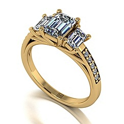 Moissanite - 9ct yellow gold 1.75ct total ring
