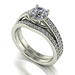 Moissanite - 9ct white gold 1.42ct total ring set