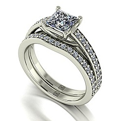 Moissanite - 9ct white gold 1.45ct total ring set