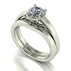 Moissanite - 9ct white gold 1ct total ring set