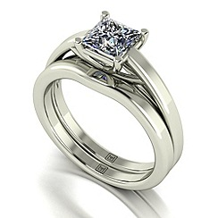 Moissanite - 9ct white gold 1.05ct total ring set