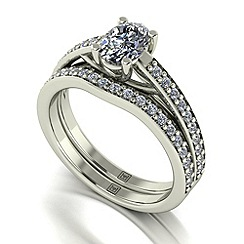 Moissanite - 9ct white gold 1.30ct total ring set