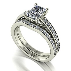 Moissanite - 9ct white gold 1.50ct total ring set