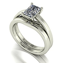 Moissanite - 9ct white gold 1.17ct total ring set