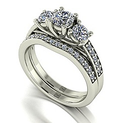 Moissanite - 9ct white gold 1.20ct total ring set