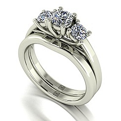 Moissanite - 9ct white gold 1.00ct total ring set