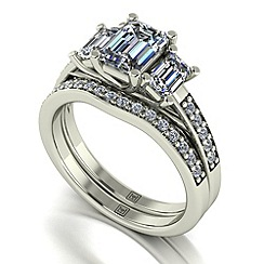 Moissanite - 9ct white gold 1.95ct total ring set
