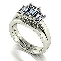 Moissanite - 9ct white gold 1.65ct total ring set