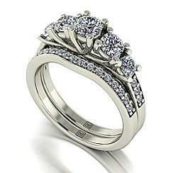 Moissanite - 9ct white gold 1.25ct total ring set