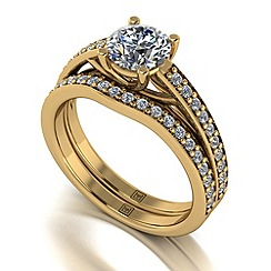 Moissanite - 9ct yellow gold 1.42ct total ring set