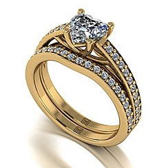 Moissanite - 9ct yellow gold 1.40ct total ring set