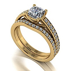Moissanite - 9ct yellow gold 1.50ct total ring set