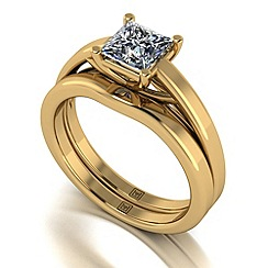 Moissanite - 9ct yellow gold 1.05ct total ring set