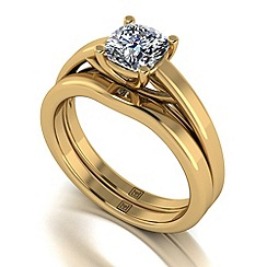 Moissanite - 9ct yellow gold 1.10ct total ring set