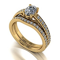 Moissanite - 9ct yellow gold 1.30ct total ring set