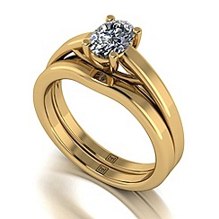 Moissanite - 9ct yellow gold 0.90ct total ring set