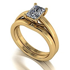 Moissanite - 9ct yellow gold 1.17ct total ring set