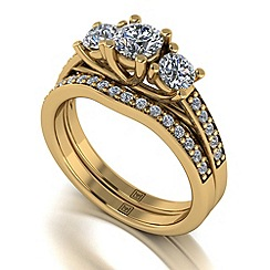 Moissanite - 9ct yellow gold 1.20ct total ring set