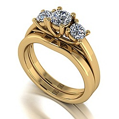 Moissanite - 9ct yellow gold 1.00ct total ring set