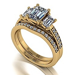 Moissanite - 9ct yellow gold 1.95ct total ring set