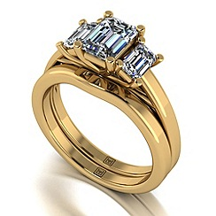 Moissanite - 9ct yellow gold 1.65ct total ring set