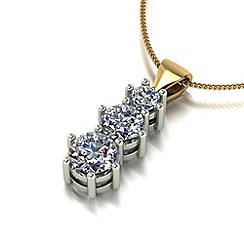 Moissanite - 9ct gold trilogy pendant & chain
