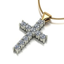 Moissanite - 9ct gold cross & chain