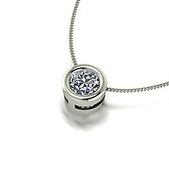 Moissanite - 9ct white gold 5mm pendant & chain