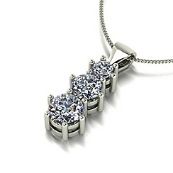 Moissanite - 9ct white gold trilogy pendant & chain