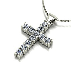 Moissanite - 9ct white gold cross pendant & chain