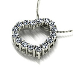 Moissanite - 9ct white gold heart pendant & chain