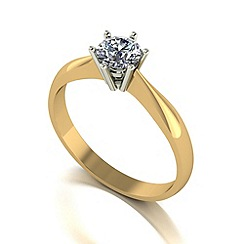 Moissanite - 9ct gold 5mm 1/2ct equivalent round ring
