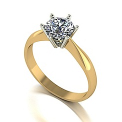 Moissanite - 9ct gold 6.5mm 1ct equivalent round ring