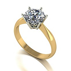 Moissanite - 9ct gold 8mm 2ct equivalent round ring