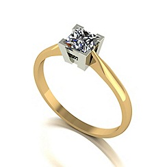 Moissanite - 9ct gold 5.0mm 1/2ct equivalent square ring