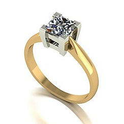 Moissanite - 9ct gold 5.5mm 1.05ct equivalent round ring