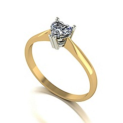 Moissanite - 9ct gold 5mm 1/2ct equivalent heart ring