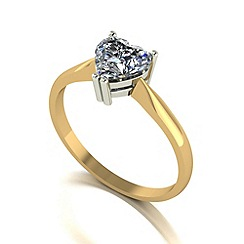 Moissanite - 9ct gold 6.5mm 1ct equivalent heart ring