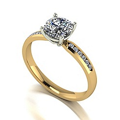 Moissanite - 9ct gold 1.10ct total solitaire ring