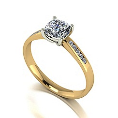 Moissanite - 9ct gold 0.90ct total solitaire ring