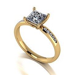 Moissanite - 9ct gold 1.15ct total solitaire ring