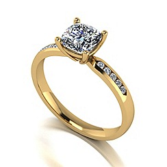Moissanite - 9ct gold 1.20ct total solitaire ring