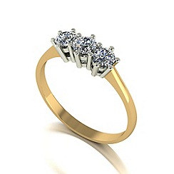 Moissanite - 9ct gold 0.50ct equivalent trilogy ring