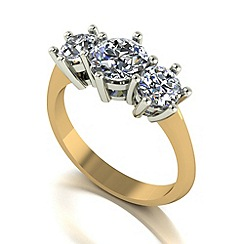 Moissanite - 9ct gold 2.00ct equivalent trilogy ring