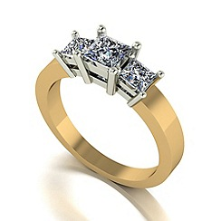 Moissanite - 9ct gold 1.00ct equivalent trilogy ring