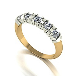 Moissanite - 9ct gold 0.50ct equivalent 5 stone ring