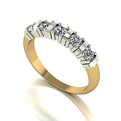Moissanite - 9ct gold 0.50ct equivalent 5 stone ring