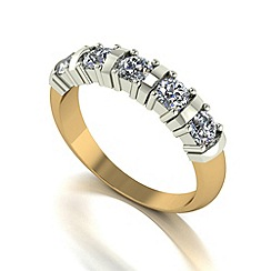 Moissanite - 9ct gold 1.00ct equivalent 5 stone ring