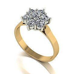 Moissanite - 9ct gold 1.00ct equivalent cluster ring